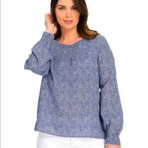 NWT Christopher & Banks Dotty Two Tone Blouse Blue